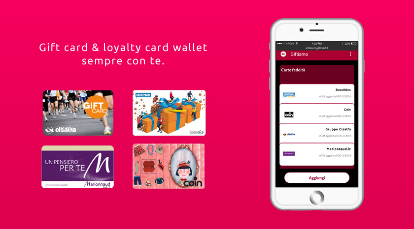 Gift card & loyalty card wallet sempre con te.