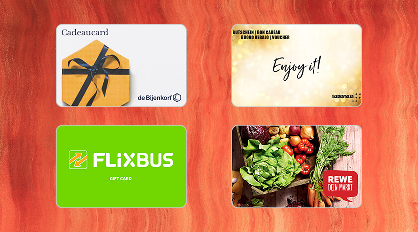 New Gift Cards in Amilon's catalogue for Europe: Flixbus, Ticketcorner, Rewe, De Bijenkorf