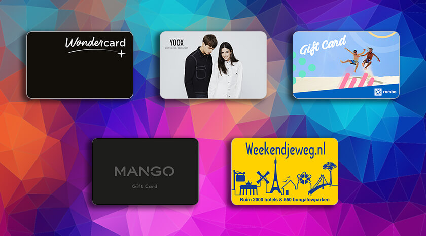 Yoox, Rumbo, Wonderbox, WeekendjeWeg digital gift cards available for Europe